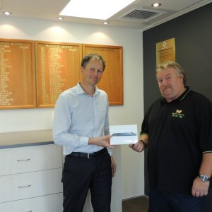 Philip Northcott receiving his prize at the Chamber offices